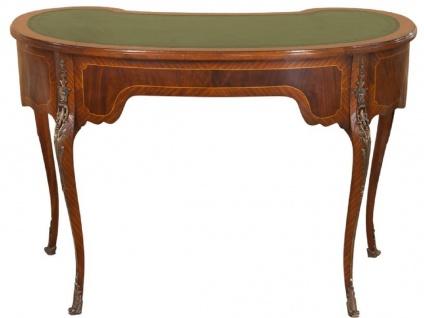 Casa Padrino Luxus Barock Schreibtisch Dunkelbraun / Hellbraun / Grün - Handgefertigter Mahagoni Schreibtisch mit 5 Schubladen - Edle Barock Büro Möbel - Vorschau 4