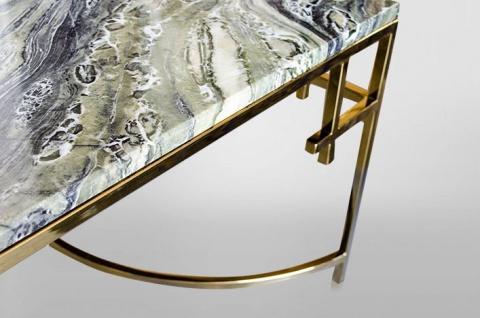 Casa Padrino Art Deco Couchtisch Gold Metall / Marmor 130 x 70 cm- Jugendstil Tisch - Möbel Wohnzimmer - Vorschau 3