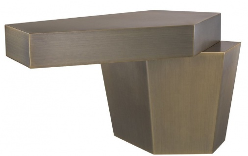 Casa Padrino Designer Couchtisch Messingfarben 82 x 52 x H. 45 cm - Metall Wohnzimmertisch mit gebürsteter Messing Oberfläche und Zementfüllung - Luxus Qualität