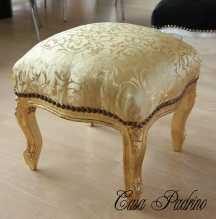 Casa Padrino Barock Fußhocker Gold Muster / Gold - Antik Stil Möbel - Hocker