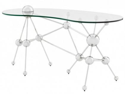 Casa Padrino Luxus Schreibtisch / Sekretär Glas / Silber Astronomy - Art Deco