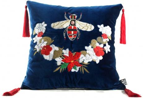 Casa Padrino Luxus Deko Kissen mit Troddeln Bee Blau / Mehrfarbig 45 x 45 cm - Feinster Samtstoff - Luxus Deko Accessoires