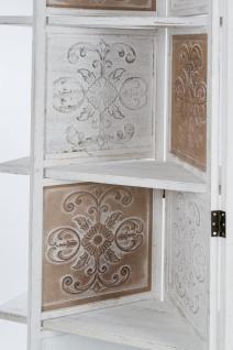Casa Padrino Landhausstil Raumteiler mit 3 Regalen Antik Weiß / Antik Braun 155 x 2 x H. 181 cm - Shabby Chic Paravent Sichtschutz Trennwand - Vorschau 3