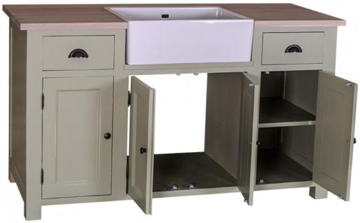 Casa Padrino Landhausstil Waschbeckenschrank Hellgrün / Naturfarben 155 x 65 x H. 90 cm - Waschtisch mit 4 Türen und 2 Schubladen - Vorschau 2