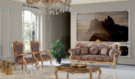 Casa Padrino Luxus Barock Wohnzimmer Set Lila / Grau / Gold - 2 Sofas & 2 Sessel & 1 Couchtisch - Handgefertigte Wohnzimmer Möbel im Barockstil - Edel & Prunkvoll