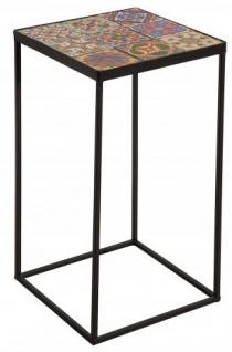 Casa Padrino Designer Beistelltisch mit Keramikplatte Schwarz / Bunt - Wohnzimmermöbel mit Mosaikmuster