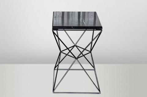 Casa Padrino Art Deco Beistelltisch Schwarz Metall / Marmor 35 x 35 cm- Jugendstil Tisch - Möbel Blumentisch