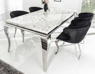 Casa Padrino Designer Esszimmer Set Schwarz / Silber / Weiss - Esstisch 200 cm + 6 Stühle - Modern Barock