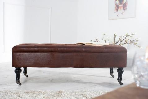 Casa Padrino Barock Sitzbank mit Truhe Antikbraun - Antik Stil Braun