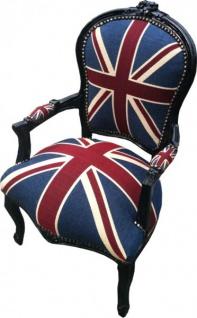 Casa Padrino Barock Salon Stuhl Union Jack Design / Schwarz - Vorschau 2
