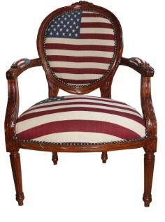 Barock Salon Stuhl USA Design / Mahagoni Braun - USA Stil - Vorschau 1