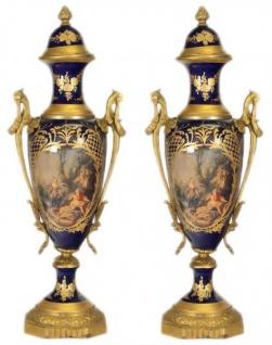 Casa Padrino Barock Porzellan Pokal Set Kobalt / Gold B20 H58 cm (2 Stück) - Grand Decor - Hotel Dekoration