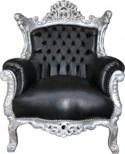 """Casa Padrino Barock Sessel """" Al Capone"""" Schwarz Lederoptik/ Silber Mod1 - Antik Stil"""