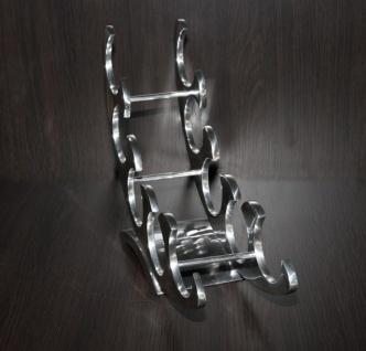 Casa Padrino Designer Weinregal aus poliertem Aluminium für 5 Flaschen H 33 cm, B 49 cm, T 15 cm - Flaschenhalter - Flaschenablage - Vorschau 3