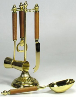 Casa Padrino Luxus Bar Besteck Set Gold / Braun 10 x 10 x H. 29 cm - 4-teiliges Cocktail Besteck - Gastronomie Accessoires
