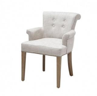 Casa Padrino Luxus Stuhl mit Armlehne Weiß - Luxus Kollektion