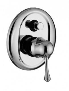Luxus Bad Zubehör - Jugendstil Retro Unterputz Duschen Einhebelmischer mit Drücktaste Chrom Serie Milano - Made in Italy