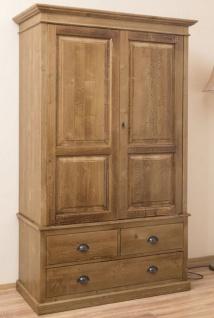 Casa Padrino Landhausstil Kleiderschrank Braun 121 x 59 x H. 197 cm - Massivholz Schlafzimmerschrank mit 2 Türen und 3 Schubladen - Landhausstil Schlafzimmer Möbel