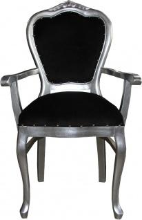 Casa Padrino Barock Luxus Damen Stuhl mit Armlehnen Schwarz / Silber - Damen Schminktisch Stuhl - Limited Edition