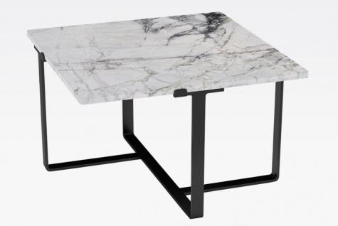 Casa Padrino Luxus Couchtisch Schwarz / Weiß 73 x 73 x H. 40 cm - Moderner quadratischer Wohnzimmertisch mit Marmorplatte - Luxus Wohnzimmer Möbel