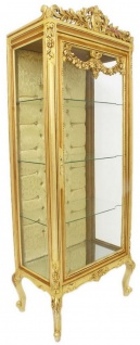 Casa Padrino Barock Vitrine Gold 70 x 40 x H. 180 cm - Prunkvoller Barock Vitrinenschrank mit Glastür und Glitzersteinen - Barock Möbel