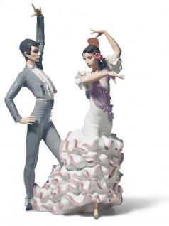 Casa Padrino Luxus Porzellan Skulptur Flamenco Tänzer Mehrfarbig 30 x H. 43 cm - Handgefertigte Luxus Dekoration