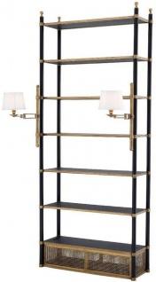 Casa Padrino Luxus Regalschrank mit 2 schwenkbaren Leuchten Vintage Messing / Schwarz 105 x 44 x H. 250 cm - Bücherschrank - Wohnzimmerschrank - Büroschrank - Luxus Möbel