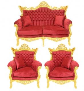 Casa Padrino Barock Wohnzimmer Set Bordeaux Samtstoff / Gold - 2er Sofa + 2 Sessel