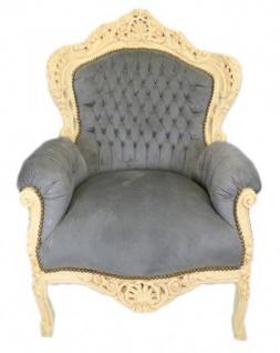 """Casa Padrino Barock Sessel """" King"""" Grau / Antik Stil Creme - Möbel"""