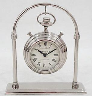 Casa Padrino Jugendstil Tischuhr Silber H. 28 cm - Schreibtischuhr - Wohnzimmer Büro Deko Accessoires