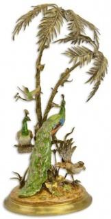 Casa Padrino Luxus Bronze Deko Palme mit exotischen Porzellan Vögeln Mehrfarbig / Gold 42 x 39 x H. 79, 5 cm - Wohnzimmer Deko - Deko Accessoires