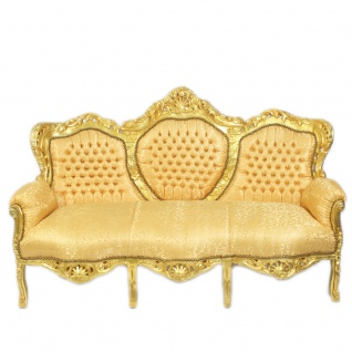 Casa Padrino Barock Wohnzimmer Set Gold Muster / Gold - 3er Sofa + 2 Sessel - Vorschau 2