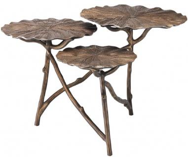 Casa Padrino Designer Beistelltisch Antik Messing 76 x 62 x H. 47 cm - Aluminium Tisch mit 3 Tischplatten - Luxus Wohnzimmer Möbel