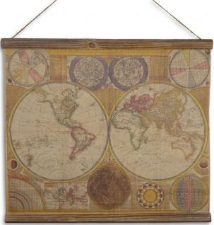 Casa Padrino Wandkarte Weltkarte Braun / Mehrfarbig 60 x H. 53 cm - Wanddeko Karte