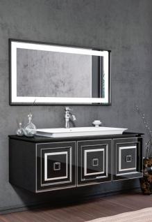 Casa Padrino Luxus Badezimmer Set Schwarz / Silber - 1 Waschtisch mit Waschbecken & 1 LED Wandspiegel - Luxus Badezimmer Möbel