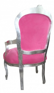 Casa Padrino Barock Salon Stuhl Mod1 Rosa / Silber - Antik Design - Vorschau 2