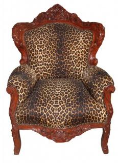 Casa Padrino Barock Sessel King Leopard / Braun 85 x 85 x H. 120 cm