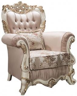 Casa Padrino Luxus Barock Sessel mit Glitzersteinen und dekorativem Kissen Rosa / Weiß / Gold 106 x 90 x H. 110 cm - Wohnzimmer Möbel im Barockstil