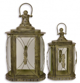 Casa Padrino Barock Zinn Laternen Set Antik Messing 41, 4 x 25, 2 x H. 68, 3 cm - Deko Kerzenleuchter im Barockstil