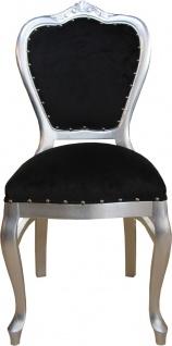 Casa Padrino Barock Luxus Damen Stuhl Schwarz / Silber - Damen Schminktisch Stuhl - Limited Edition