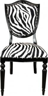 Casa Padrino Art Deco Luxus Esszimmer Stuhl Zebra / Schwarz - Luxus Hotel Möbel