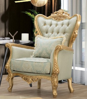 Casa Padrino Luxus Barock Sessel Hellgrün / Gold - Handgefertigter Wohnzimmer Sessel mit elegantem Muster und Glitzersteinen - Barock Wohnzimmer Möbel - Edel & Prunkvoll