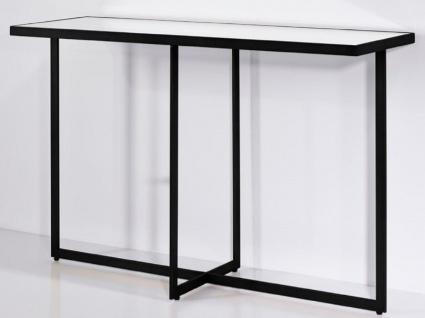 Casa Padrino Luxus Konsole Schwarz 120 x 40 x H. 77 cm - Rechteckiger Metall Konsolentisch mit Spiegelglas - Wohnzimmer Möbel