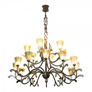 Casa Padrino Barock Schmiedeeisen Kronleuchter 18-Flammig Glas Hängeleuchte Lüster Hängelampe Deckenlampe - Burg Schloss Leuchter