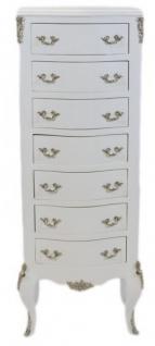 Casa Padrino Barock Kommode Weiß mit 7 Schubladen 120 x 45 x 35 cm - Antik Stil
