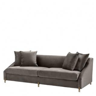 Casa Padrino Luxus Samtsofa Grau / Messingfarben 223 x 94 x H. 73 cm - Wohnzimmer Sofa mit 4 Kissen - Luxus Möbel