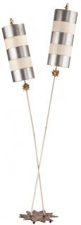 Casa Padrino Designer Doppel Stehleuchte Silber / Beige 63, 5 x 35, 6 x H. 198, 1 cm - Moderne Stahl Stehlampe - Luxus Wohnzimmer Leuchten