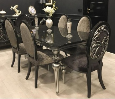 Casa Padrino Luxus Barock Esszimmer Set Schwarz / Grau / Silber - 1 Esszimmertisch & 6 Esszimmerstühle - Barock Esszimmer Möbel - Edel & Prunkvoll