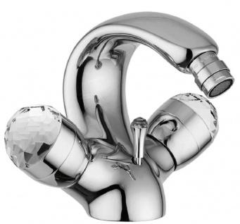 Casa Padrino Luxus Jugendstil Wasserhahn mit Swarovski Kristallglas Silber H. 15, 5 cm - Retro Waschtisch Armatur - Einlochbatterie - Erstklassische Qualität - Made in Italy