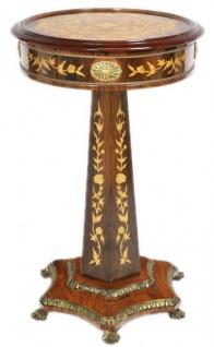Casa Padrino Barock Beistelltisch Mahagoni Intarsien H110 x 55cm - Ludwig XVI Antik Stil Tisch - Möbel